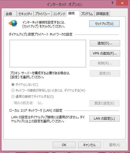 インターネットオプションのダイアログボックス